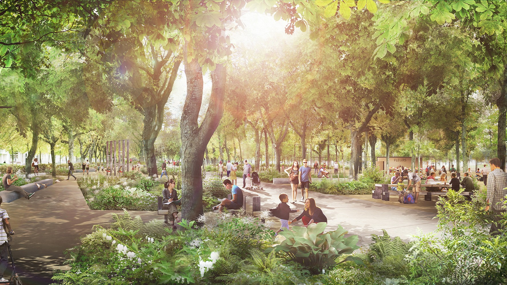 Reims, France: Vert récréatif | «Les Promenades» et «Central Park» (visualisations: AJOA, Paris)